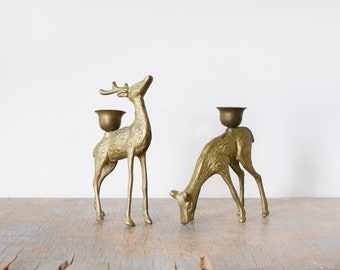 brass deer candle holders, vintage brass deer figurines, mid century brass decor