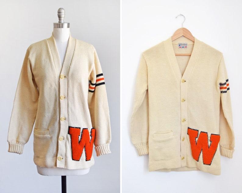 vintage 50s varsity sweater 1970s wool letterman cardigan image 0