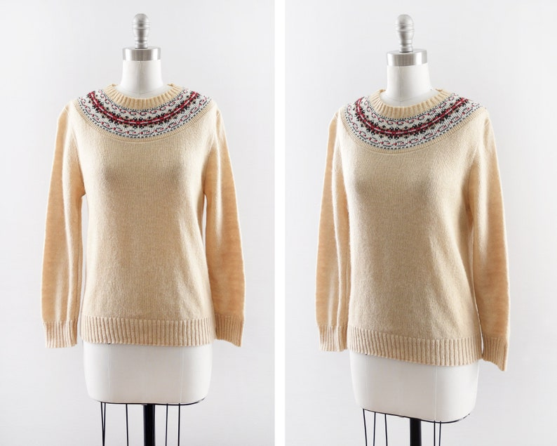 70s fair isle sweater vintage 1970s beige wool knit pullover image 0