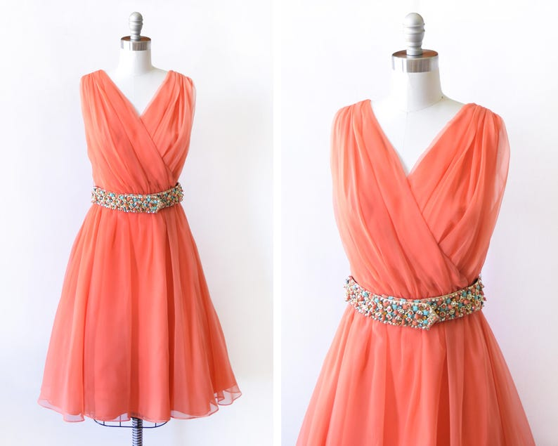 60s chiffon party dress vintage  1960s coral orange cocktail image 0