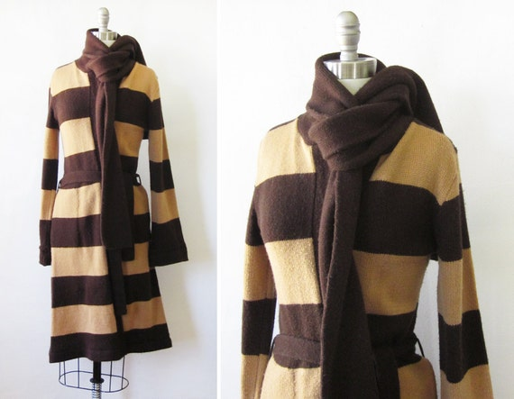 vintage striped sweater with scarf 80s brown long cardigan  a4268b9a3