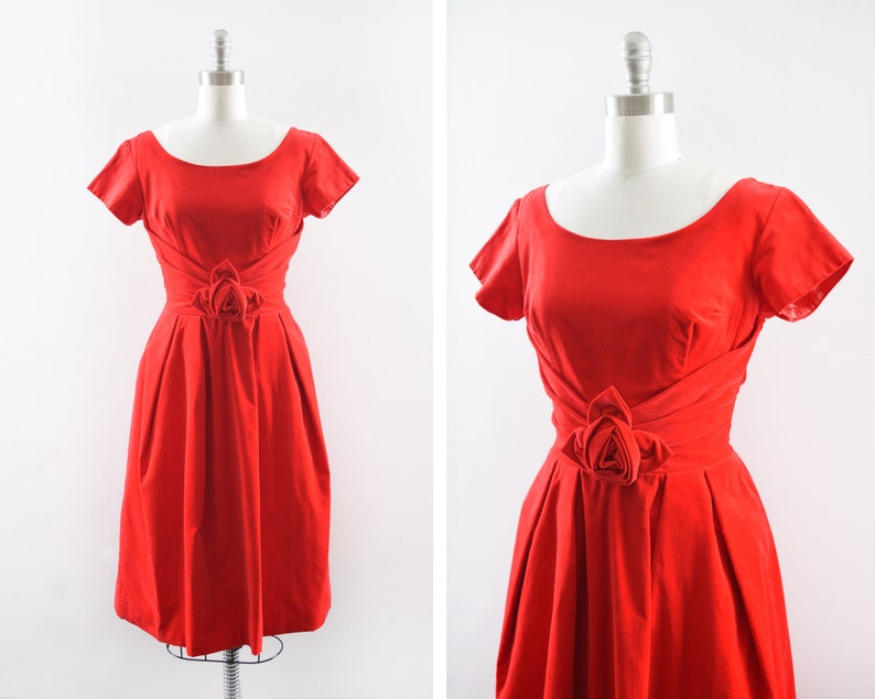 8998a1fdba3 50s red velvet dress vintage 1950s dress Valentine s Day