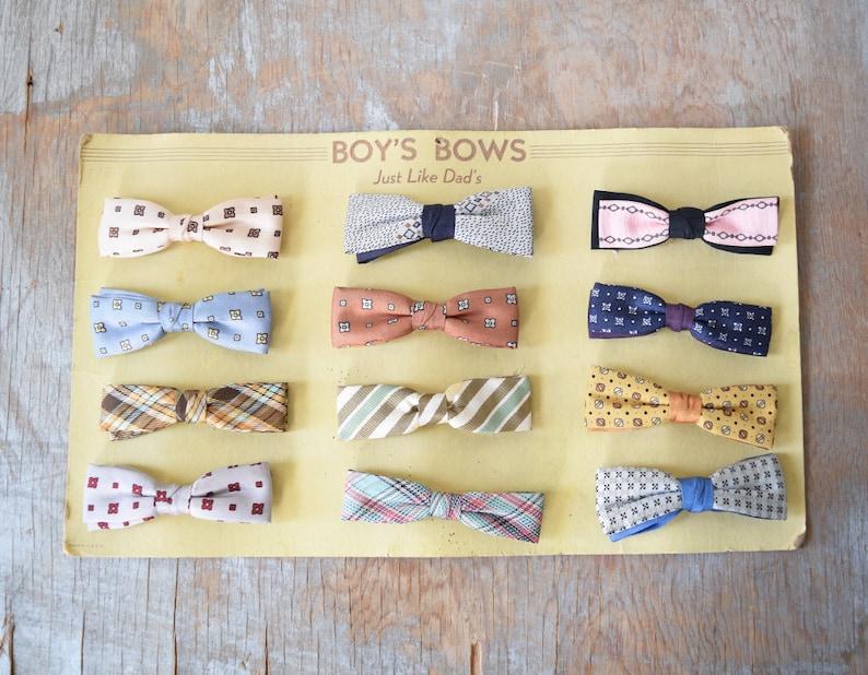 50s bow tie vintage small bow tie 1950s clip on bow tie image 0