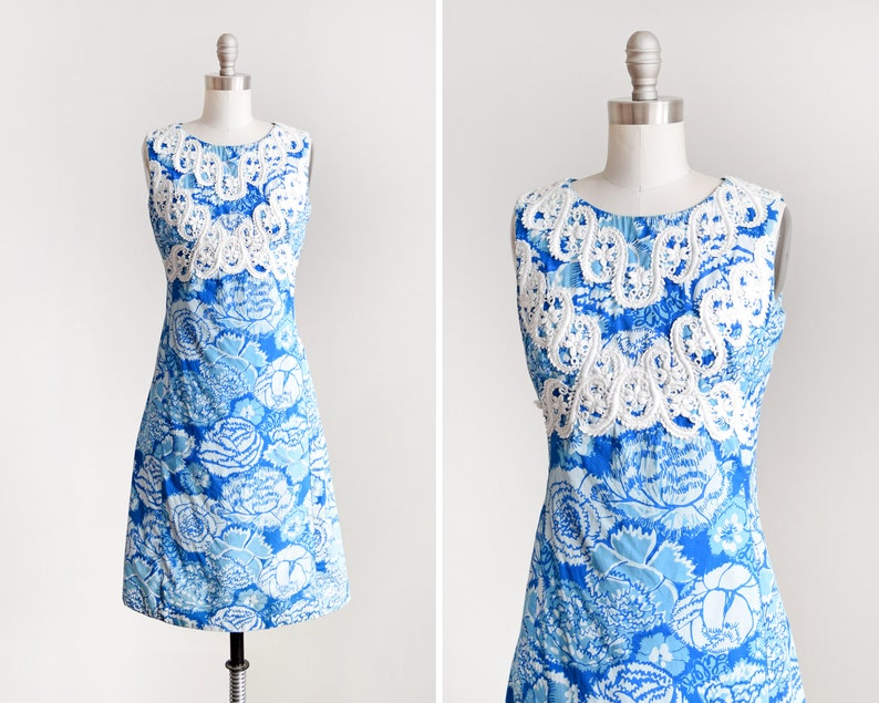 60s Lilly Pulitzer Dress Vintage 1960s The Lilly Blue Floral image 0