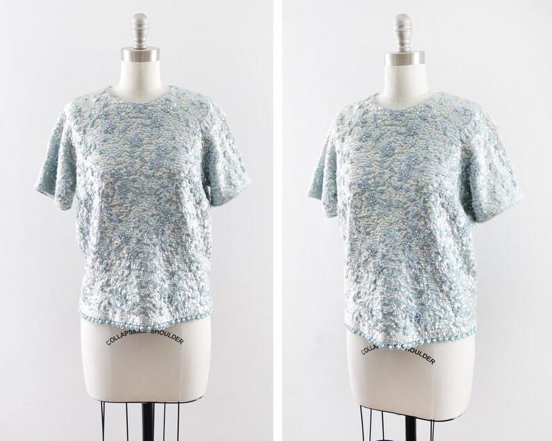 blue sequin blouse vintage 60s sequin beaded blouse short image 0