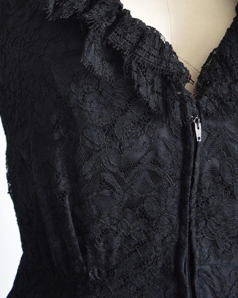 vintage black lace romper xss 1970s mod jumpsuit ruffled zip up front hot pants 60s70s playsuit