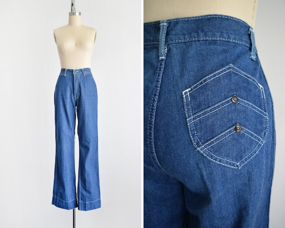 Vintage 70s Jeans, 1970s Straight Wide Leg Denim … - image 1