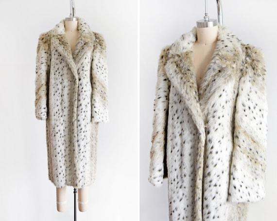 Vintage Faux Fur Coat, 80s Spotted Snow Leopard Co