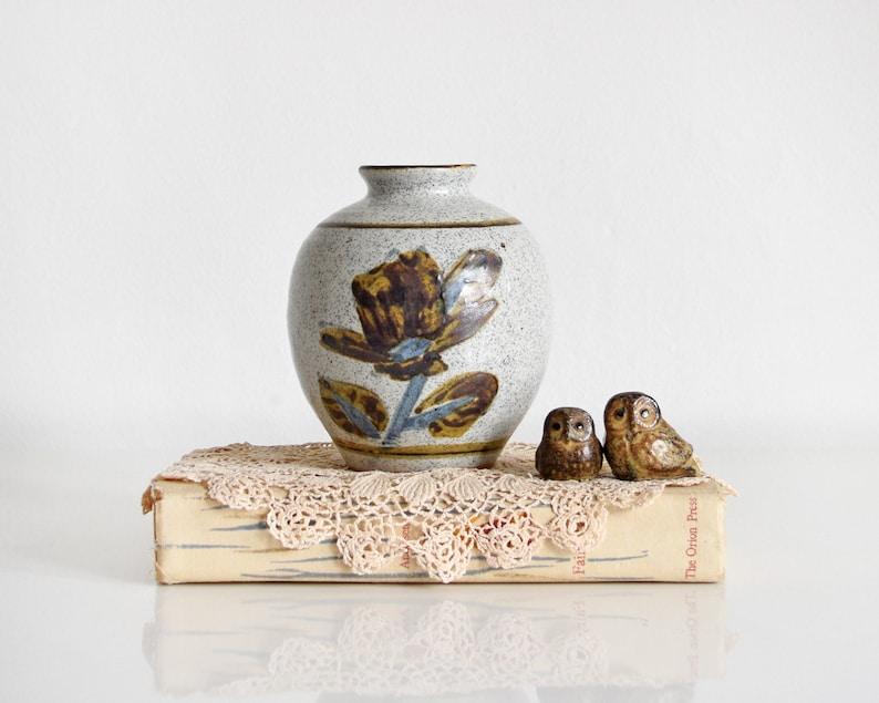 gray ceramic bud vase vintage floral speckled vase stoneware image 0