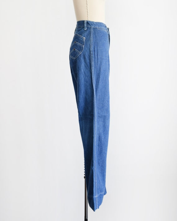 Vintage 70s Jeans, 1970s Straight Wide Leg Denim … - image 4