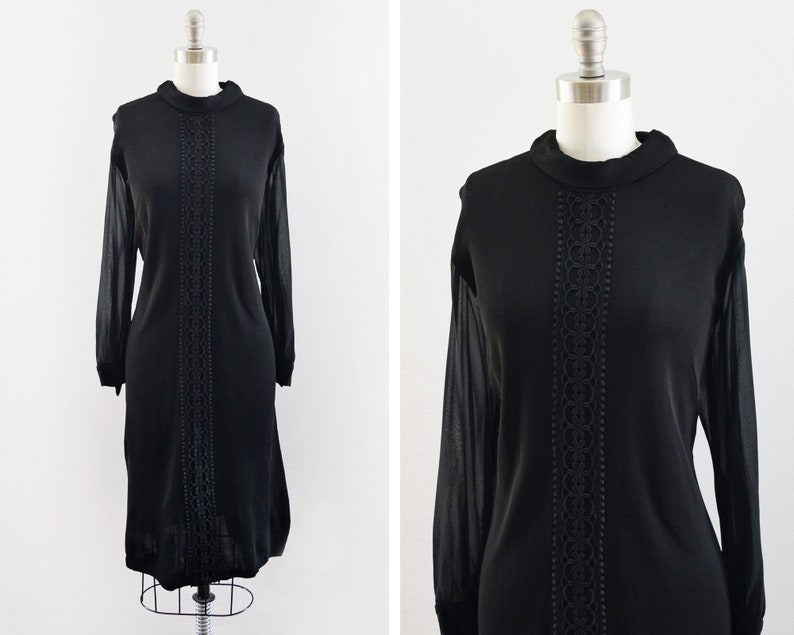 60s black dress vintage 1960s mod long sleeve cocktail dress image 0