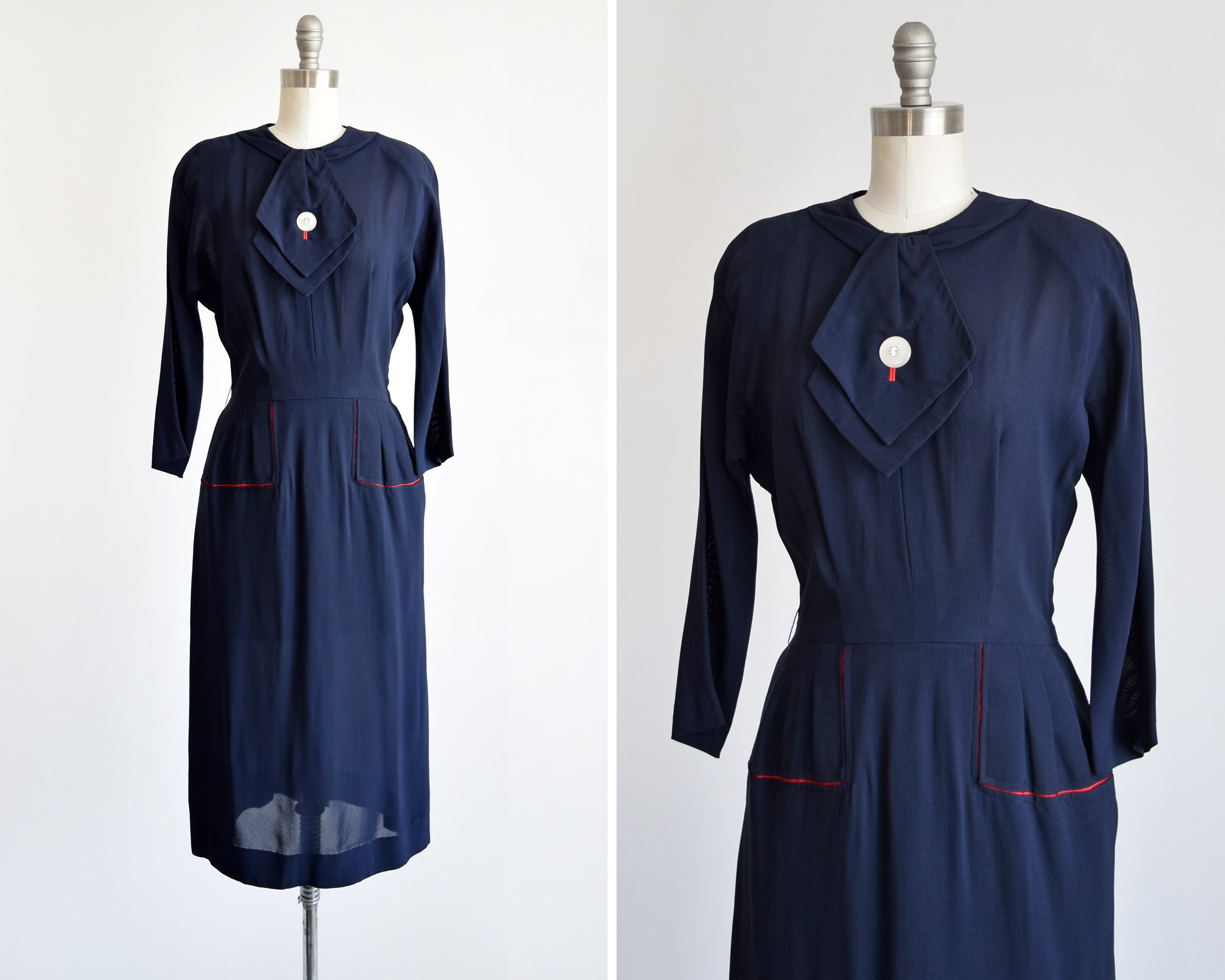 Vintage Scarf Styles -1920s to 1960s 40S Navy Blue Dress, Vintage 1940S Long Sleeve Rayon Dress with Rhinestone Ascot  Red Trimmed Pockets Styled By Georgia Wells, Small $152.00 AT vintagedancer.com