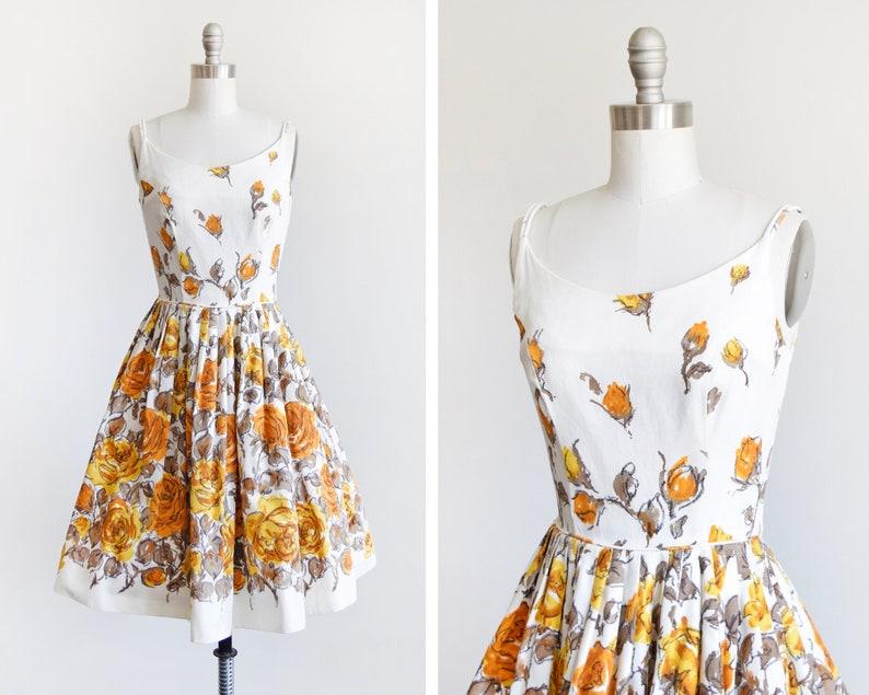 1950s floral dress vintage 50s sundress white & golden image 0