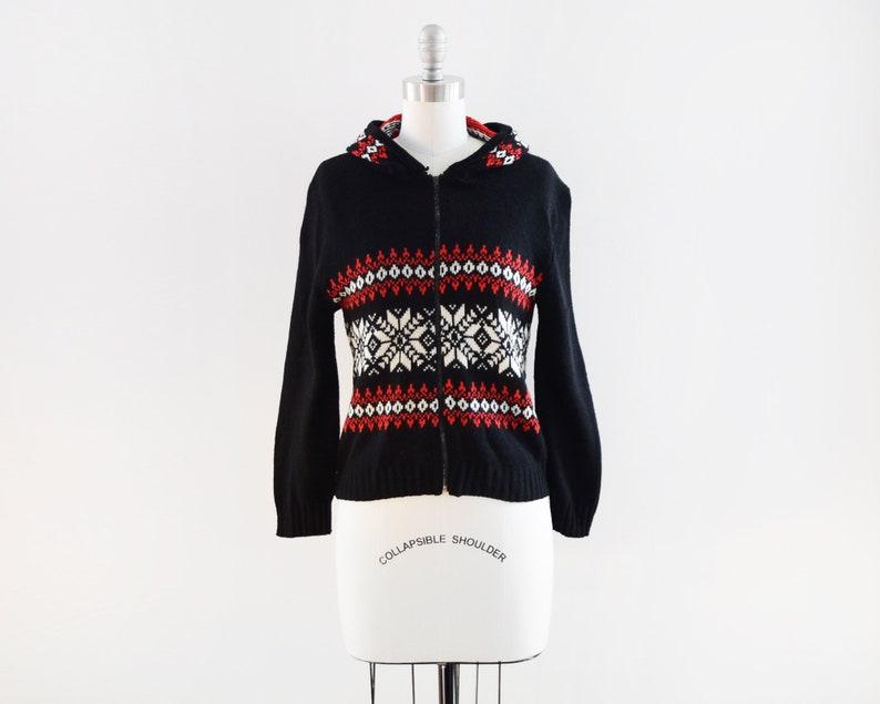 hooded snowflake sweater vintage 80s knit hoodie black red image 0