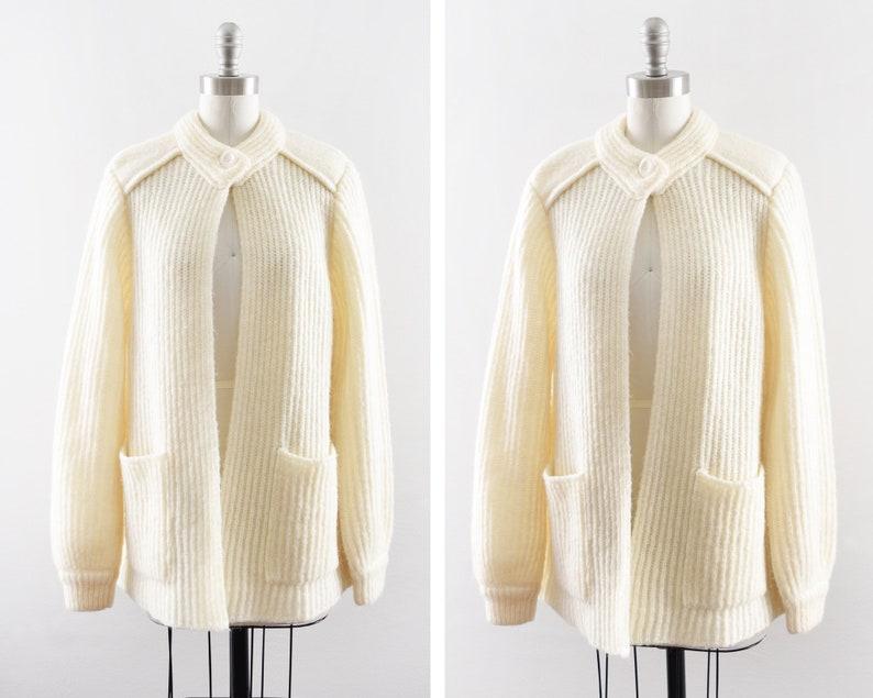 vintage cream cardigan 80s ribbed knit open cardigan wool image 0