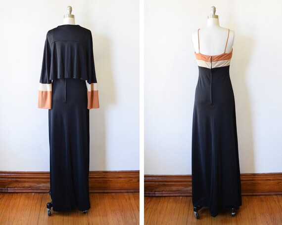 small maxi small 70s xs vintage dress black disco 1970s jacket 54 party dress extra empire dress studio crop seventies waist Tqqr5wHf
