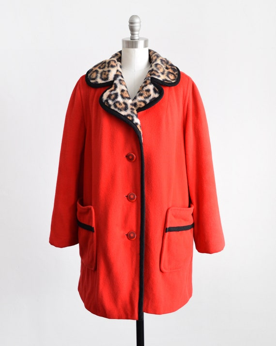 1960s Red Wool Coat with Leopard Print Lining Womens Large Extra Large