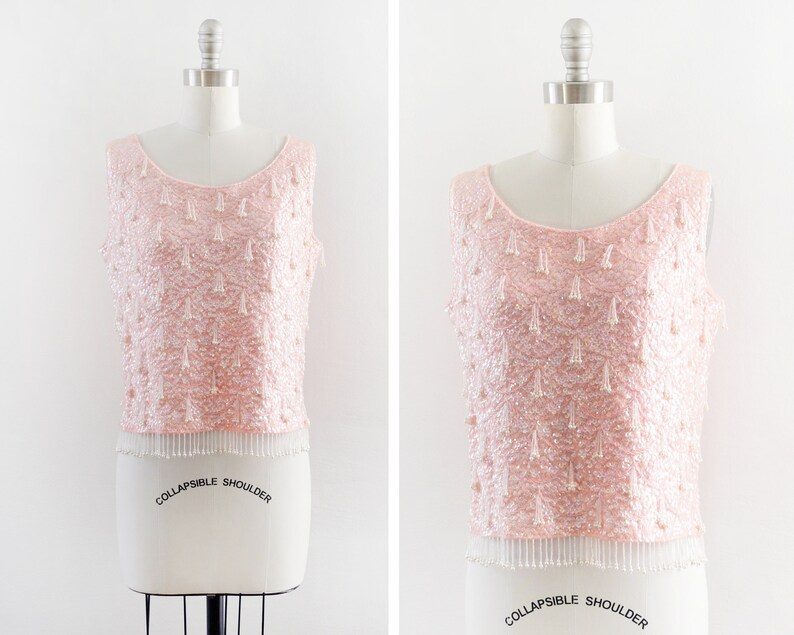 1f4f788b0c24f Pink sequin beaded top vintage 60s beaded tank top