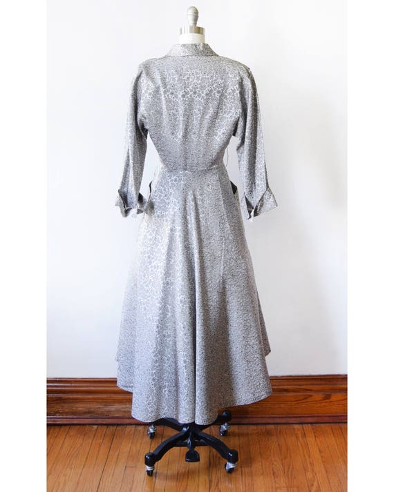 hostess black silver gown dress xs vintage gray dressing floral dress 1940s extra small 40s qnYwax0z