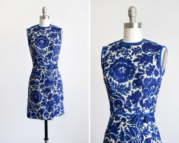 60s Blue Floral Dress, Vintage 1960s Linen Dress,