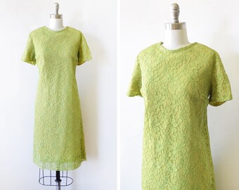 60s chartreuse lace dress, 1960s mod shift dress, a line dress cocktail garden party dress, medium large m/l