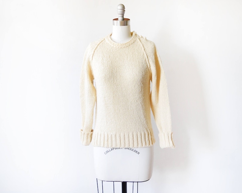 8f6ff90dcb 80s cream sweater vintage 1980s sweater pullover knit