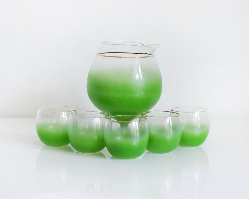 Vintage 60s Green Blendo Cocktail Glasses Mid Century Green image 0