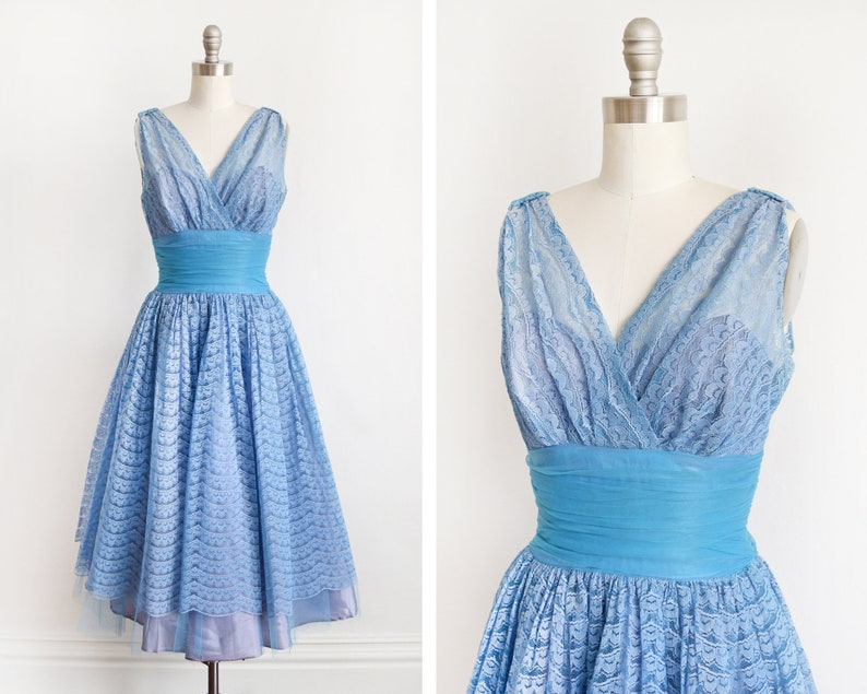 Vintage 50s Prom Dress 1950s Blue Tulle Lace Party Dress image 0