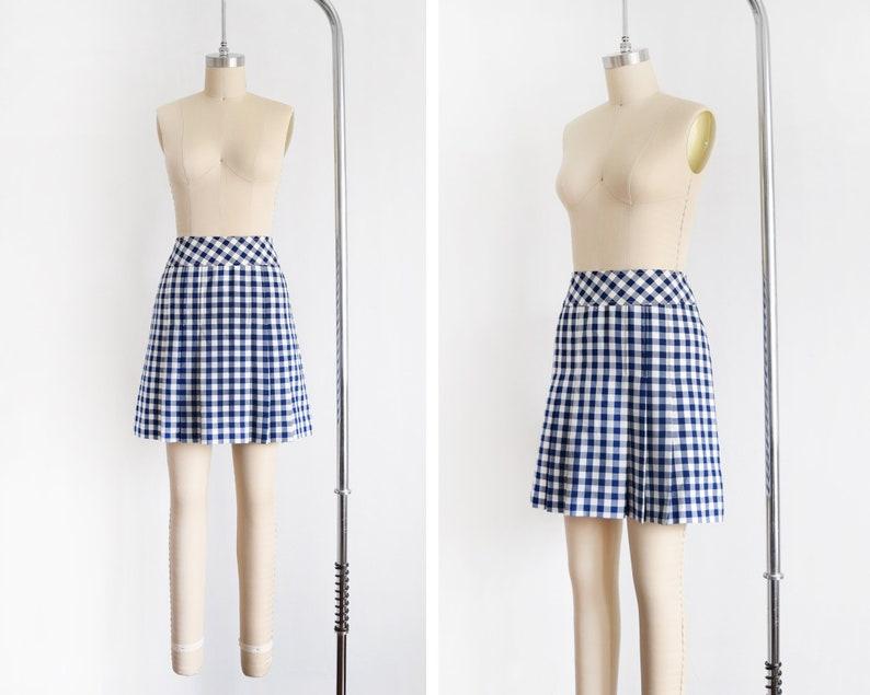 70s blue gingham skirt vintage 1970s Leon Levin Q-skirt image 0