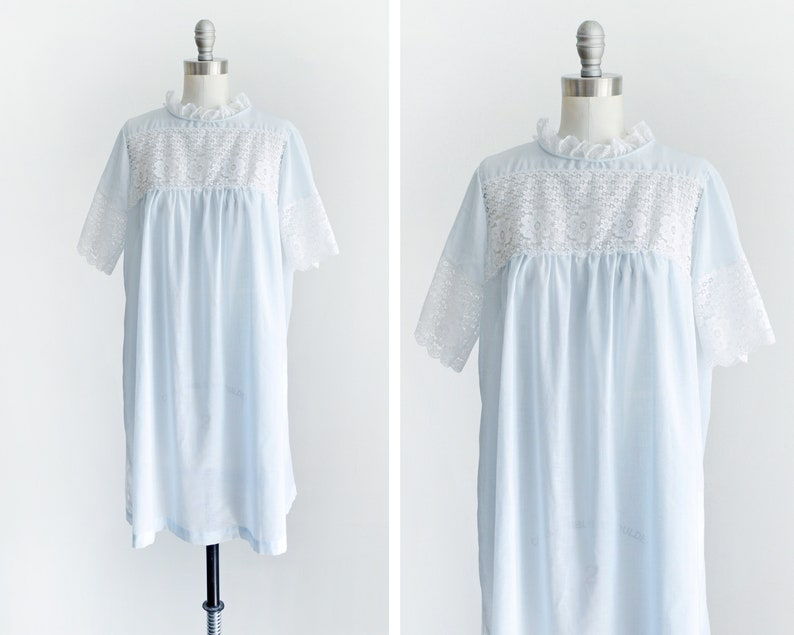 Vintage 60s Babydoll Nightgown 1960s Blue & White Floral Lace image 0