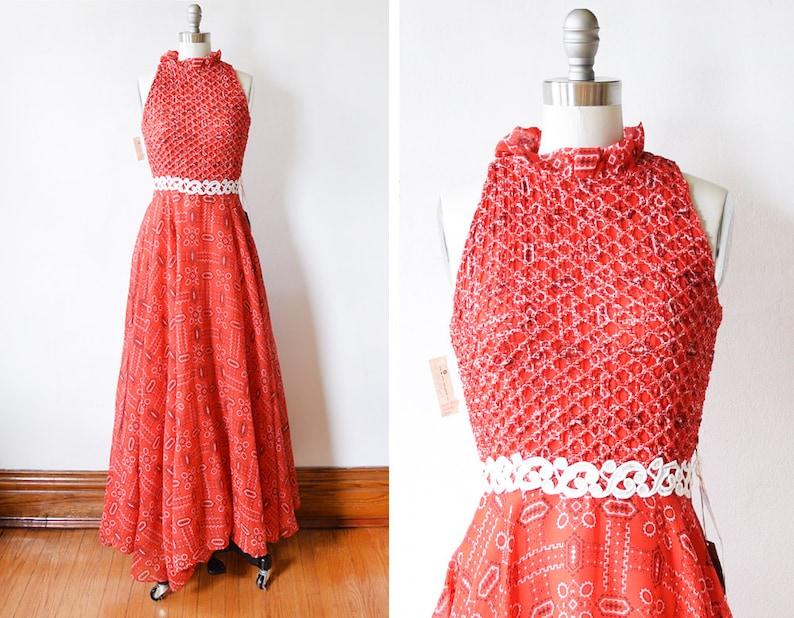 70s bandana dress vintage 1970s red maxi dress smocked boho image 0