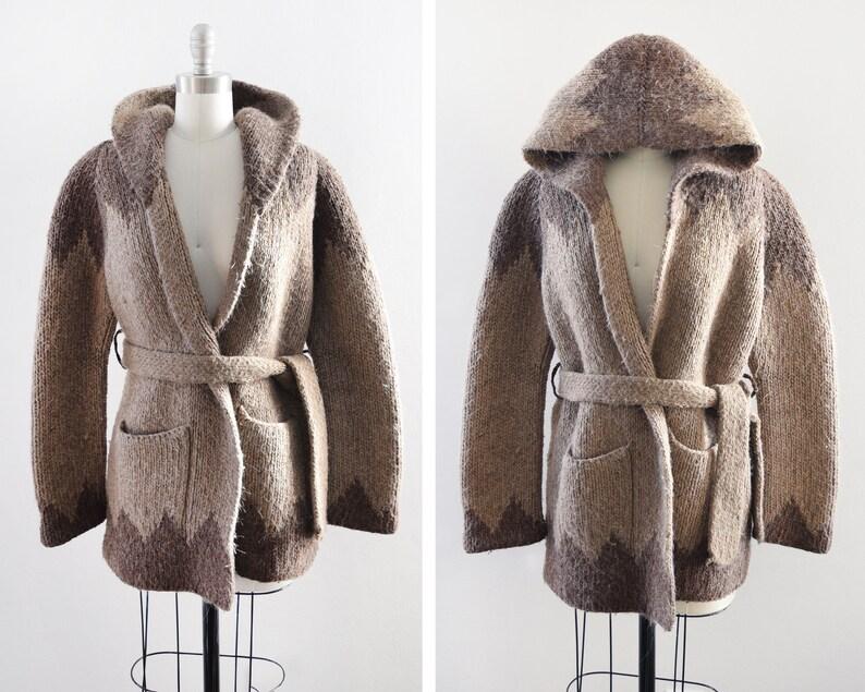 vintage wool wrap cardigan 70s hooded sweater coat brown image 0