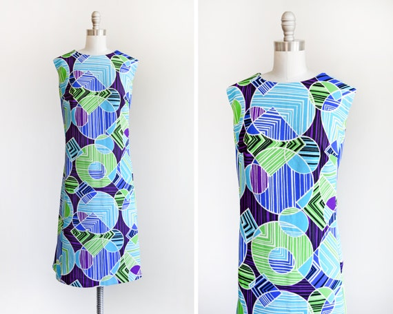 70s Mod Dress, Vintage 1970s Blue, Green, & Purple