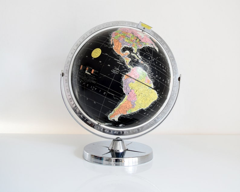 Black World Globe Vintage 60s Encyclopedia Britannica Globe image 0