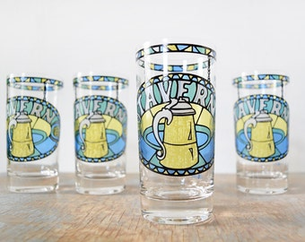 vintage beer glasses, tavern beer glasses by cera, stained glass beer pints