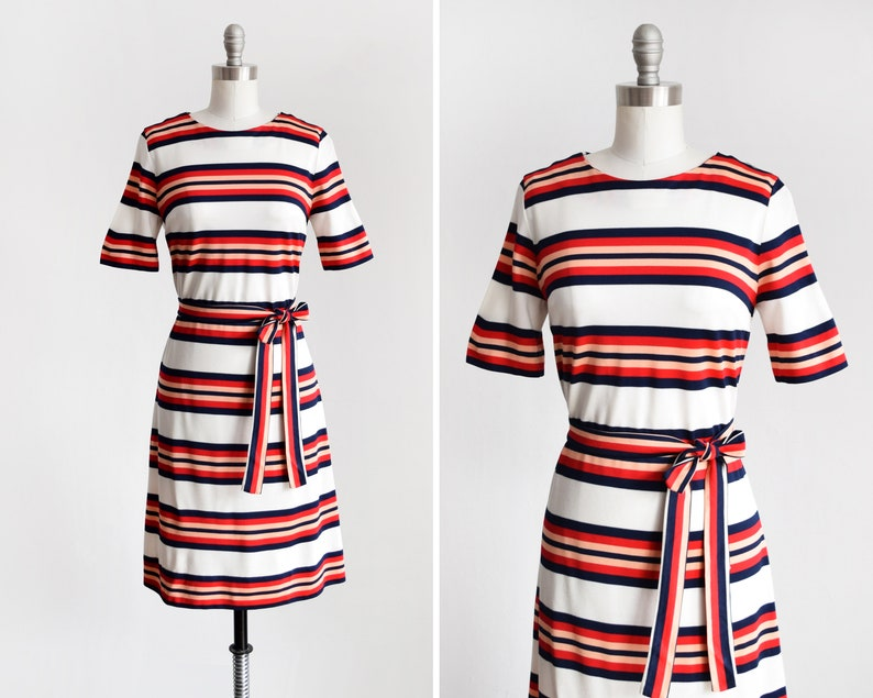Mod Striped Dress Vintage 60s Dress  1960s Red White & image 0