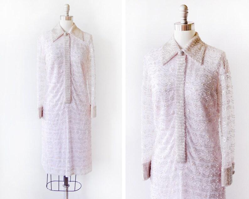 49abc22507 60s beaded sequin dress vintage 1960s pastel pink lace