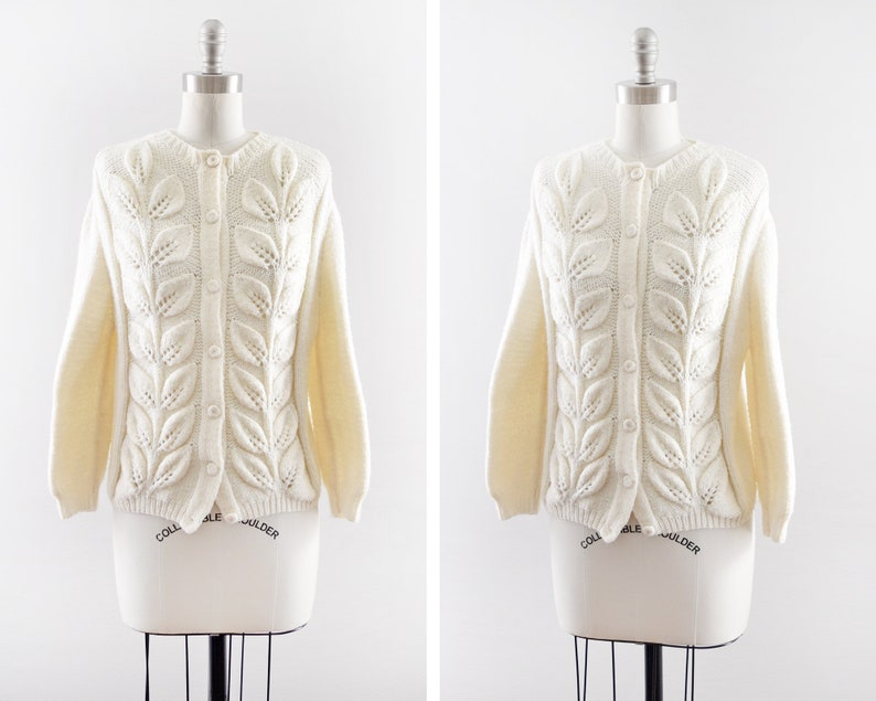 white leaves knit cardigan vintage 60s sweater button up image 0