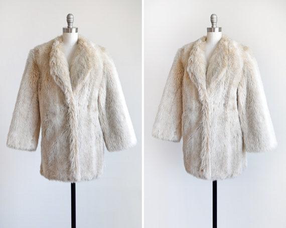 Cream Faux Fur Coat, Vintage 80s Fake Fur Coat, 19