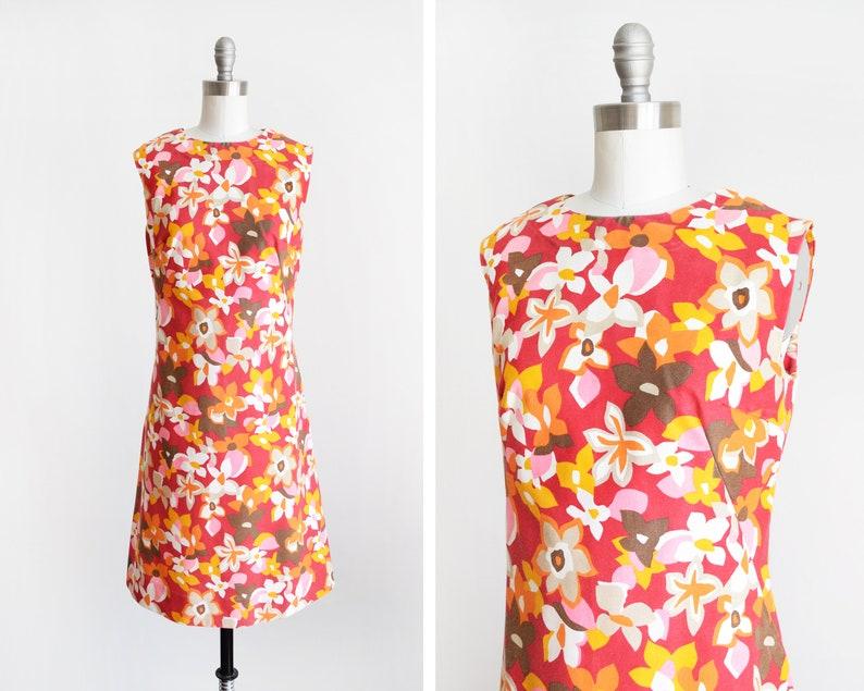 mod floral dress vintage 60s dress red & pink mod scooter image 0