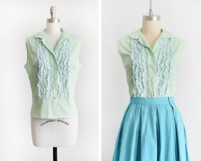 60s mint green blouse vintage 1960s ruffled blouse image 0
