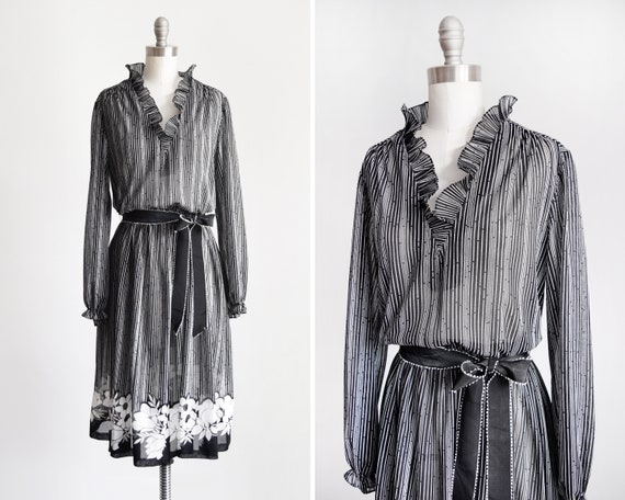 research black and white 70s striped dress