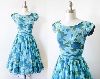 floral chiffon dress, vintage 50s blue floral dress, 1950s party dress, extra small xs