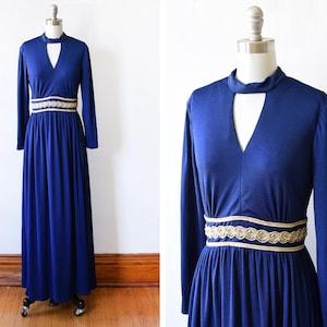 small 70s silver maxi dress extra small vintage 1970s metallic disco dress silver /& black lurex keyhole long sleeve 60s dress