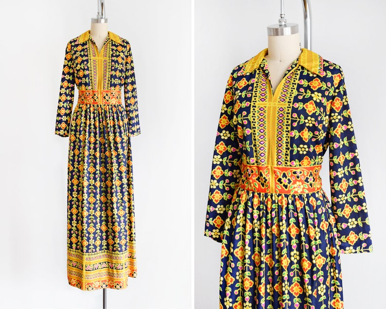 70s Floral Maxi Dress Vintage 1970s Dress Long Sleeve Golden image 0