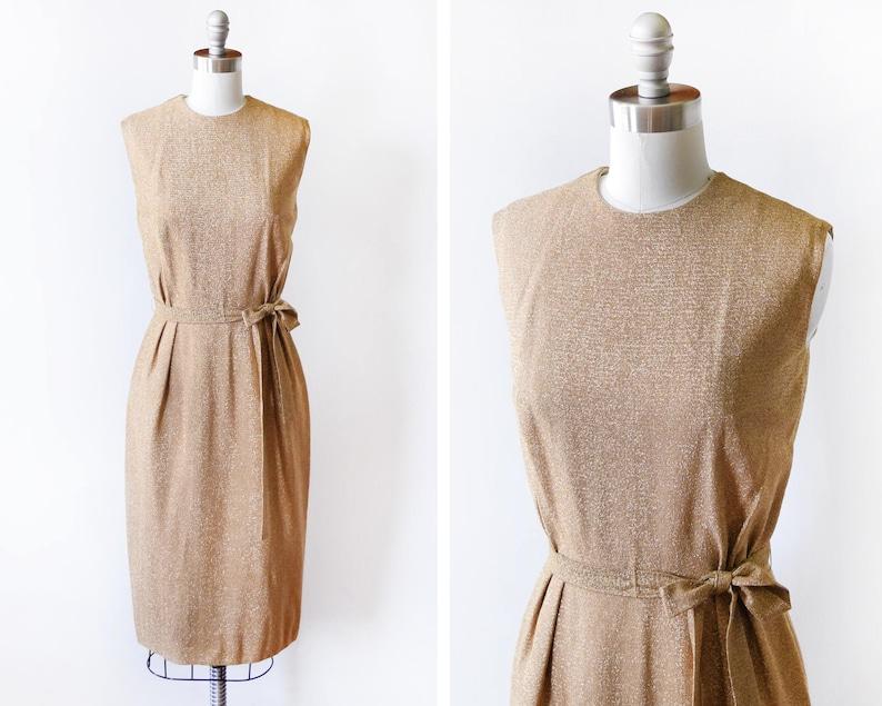 60s gold dress vintage 1960s metallic gold dress sparkly image 0