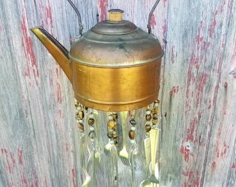 Vintage Copper Teapot Silverware Windchime Garden Porch Decor Housewarming Gift Spoon Chime