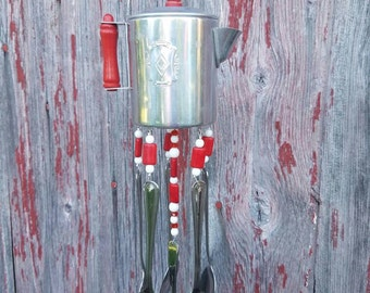 Silverware Winchime Child's Play Coffee Pot Silverware Chime Housewarming Gift Garden Porch Decor