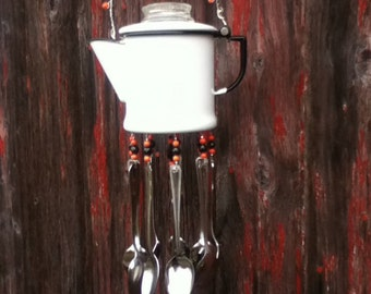 Silverware Windchime RepurposedVintage Perculator Coffee Pot Windchime Garden Porch Decor Housewarming Gift Recycled Upcycled Gift