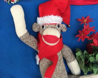 Vintage Sock Monkey with Christmas Santa Hat & Scarf Needs Good Home